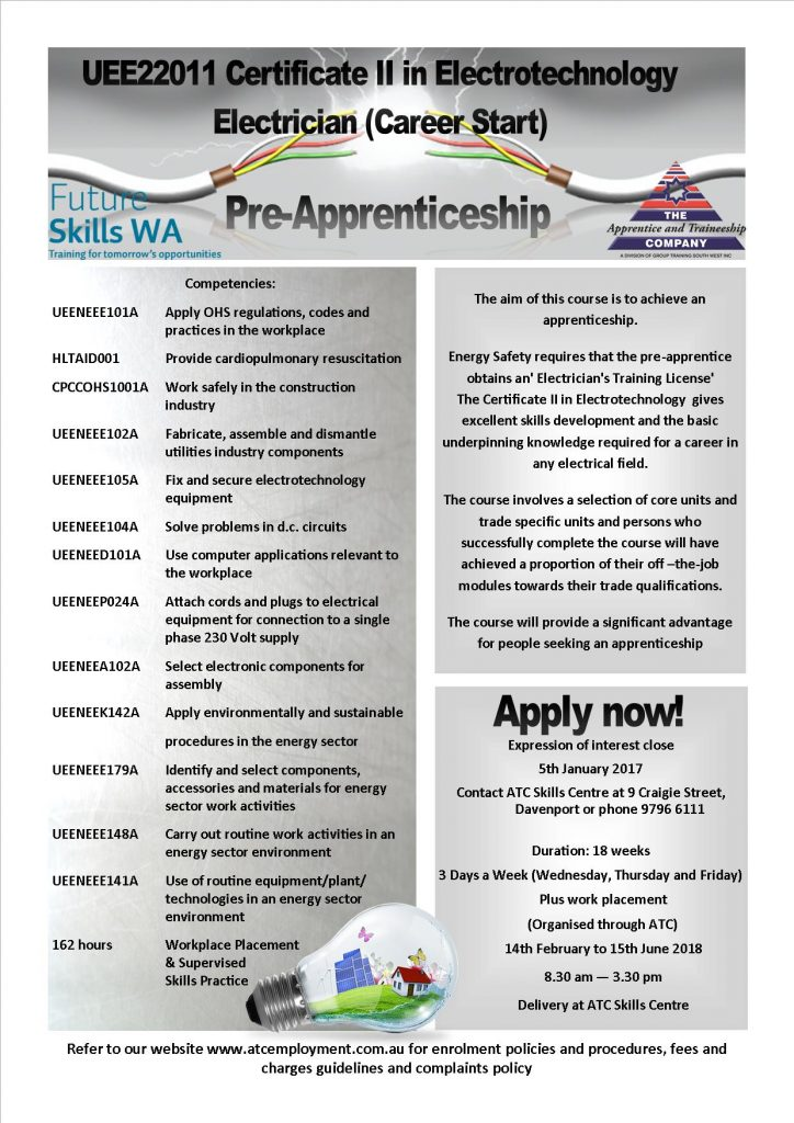 apply now electrical pre apprenticeship 2018